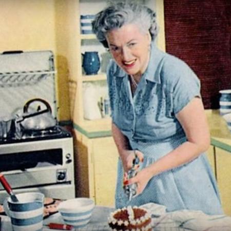 woman bakes cake