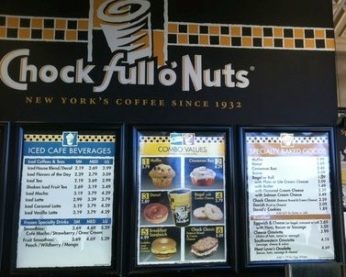 Chock Full o' Nuts cafe menu