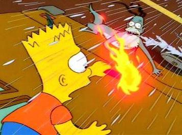 Bart seems gremlin on side of bus
