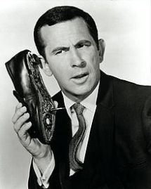 Don Adams using shoe phone