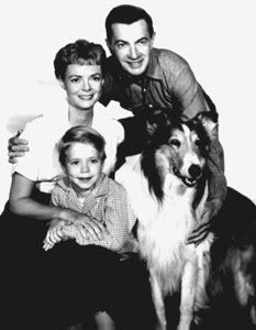 June Lockhart with Lassie cast