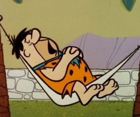Fred Flintstone in hammock