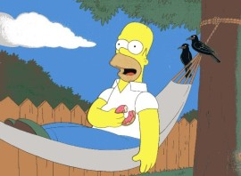 Homer Simpson in hammock