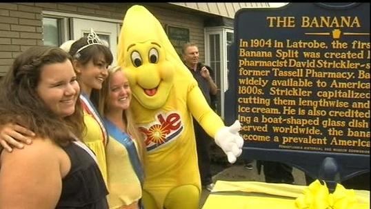 banana split historical marker in Latrobe, Pa
