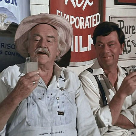 Grandpa Walton and Ike drink lemonade