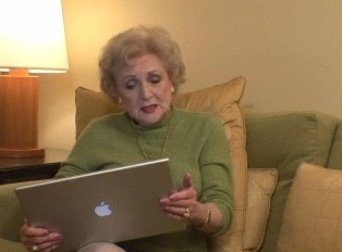 Betty White with MacBook