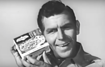 Andy Griffith holds box of Birds Eye frozen vegetables