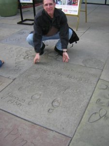 Michael by John Wayne's footprints