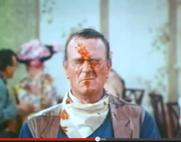 John Wayne with ketchup on face