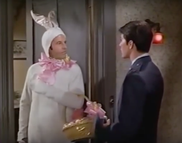 Louis B in bunny suit with Moondoggie