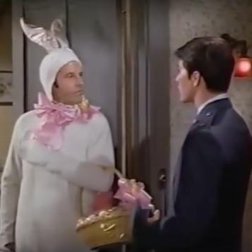 Louis B in bunny suit with Moondoggie