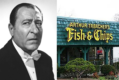 Arthur Treacher headshot and Arthur Treacher's restaurant