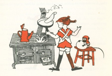 book illustration of Pippi Longstocking making a pancake