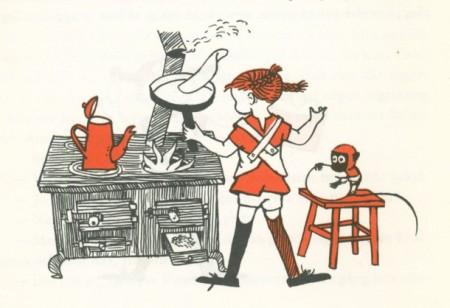 book illustration of Pippi Longstocking making a pancake