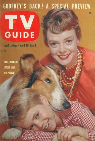 June Lockhart and Lassie TV Guide cover
