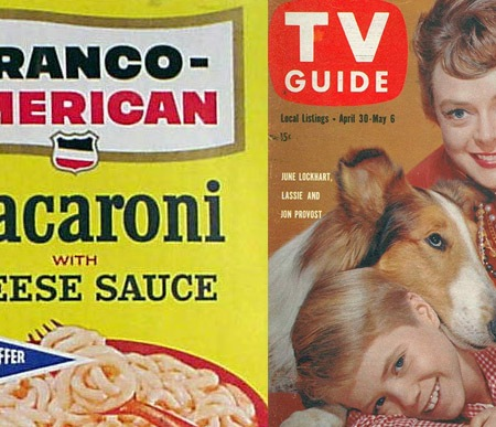 Macaroni and cheese label and June Lockhart TV guide cover