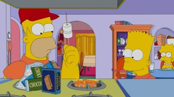 Homer toasts marshmallow