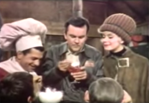Carol Channing watches Hogans Heroes cast eat Jell-O